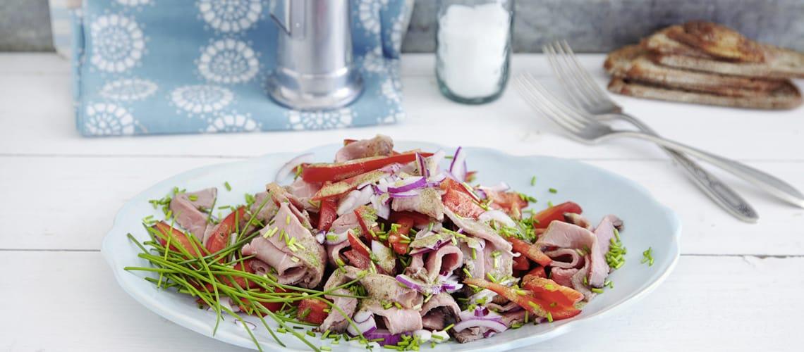 Roastbeefsalat mit Kürbiskernöl
