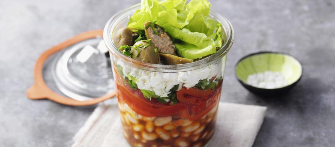 Paprika-Bohnen-Salat mit Feta