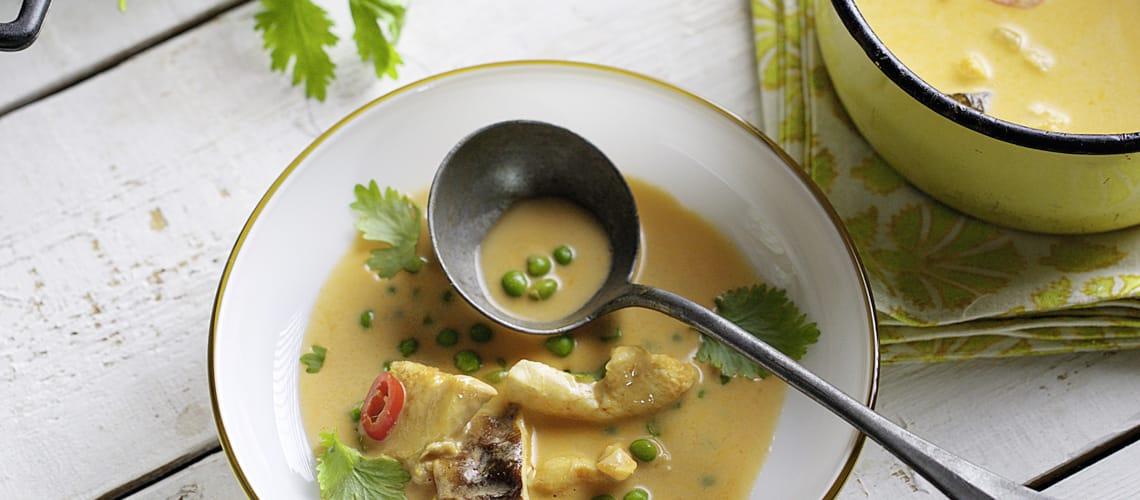 Kokos-Curry-Suppe mit Hähnchen