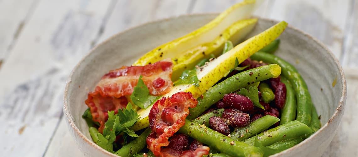 Birnen-Bohnen-Salat mit Senf-Agavensirup-Dressing