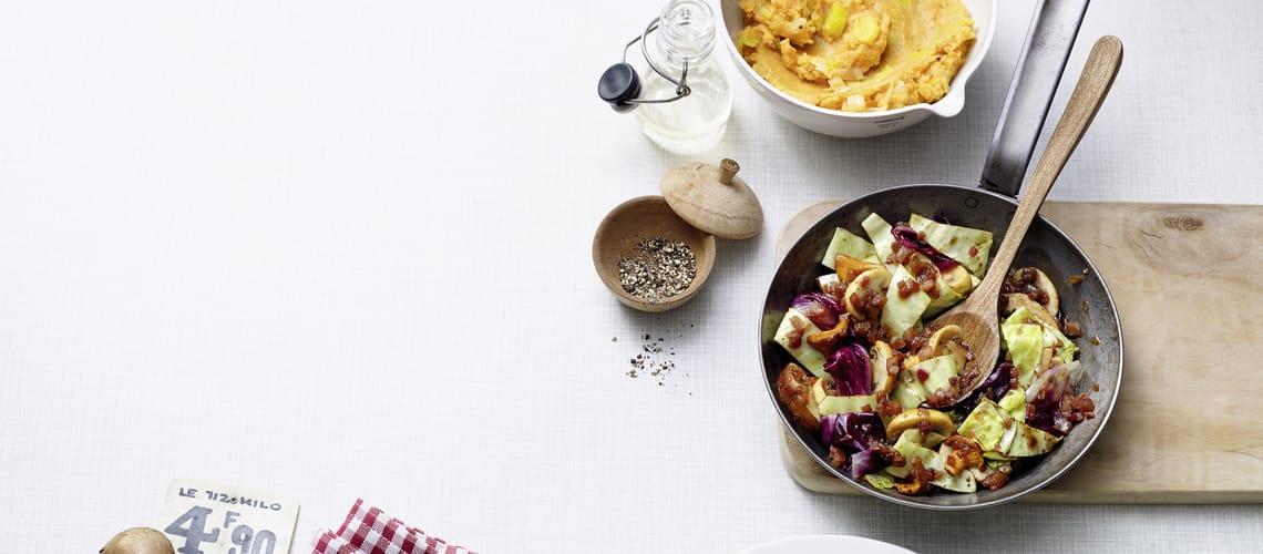 Süßkartoffelpüree mit Pilzen