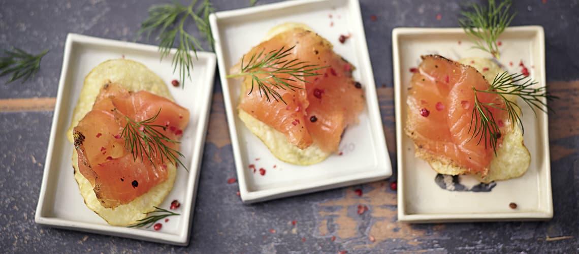 Gebeizter Lachs auf Chips