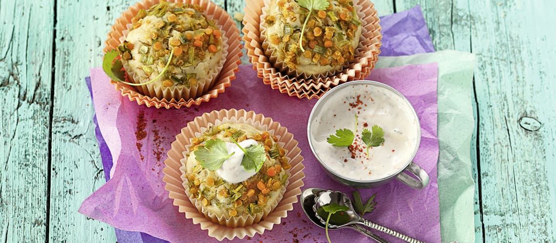 Curry-Linsen-Muffins