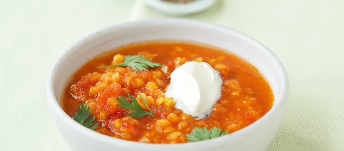 Rote Linsen-Tomaten-Suppe