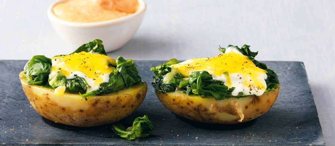 Backkartoffeln mit Spinat