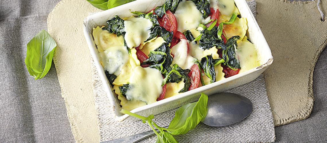 Ravioli-Gratin mit Spinat
