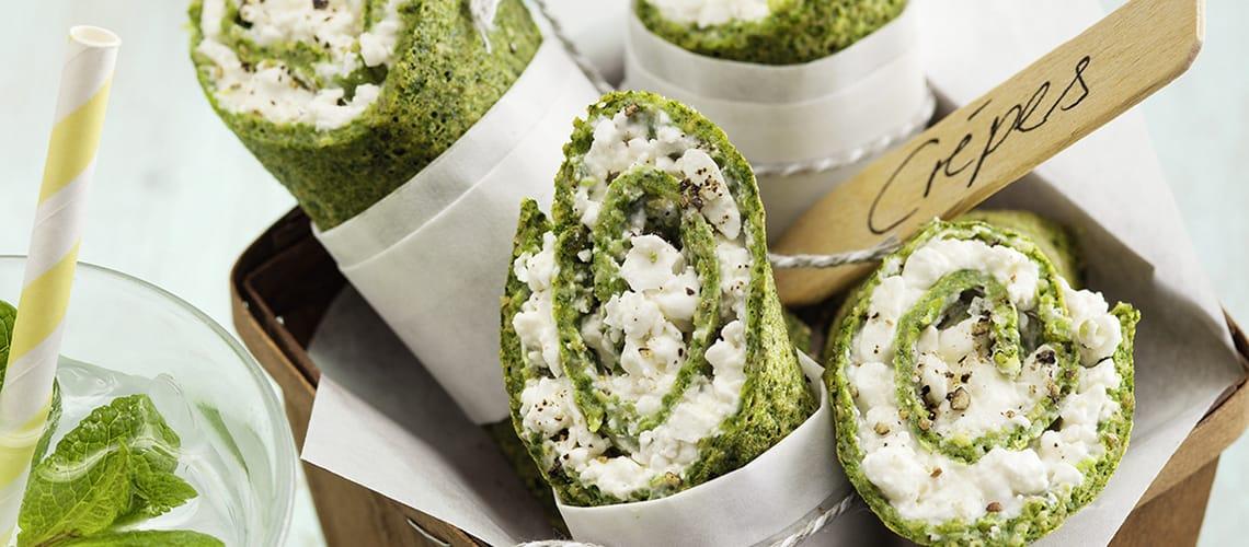 Spinat-Quesadilla mit Schmand-Dip