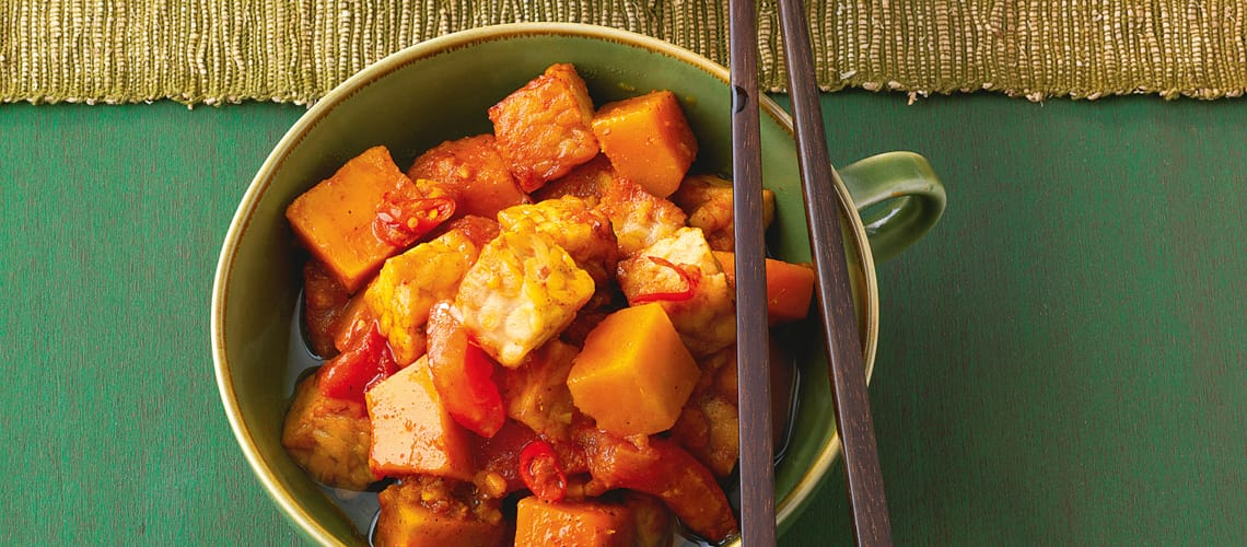 Tempeh-Curry mit Kürbis