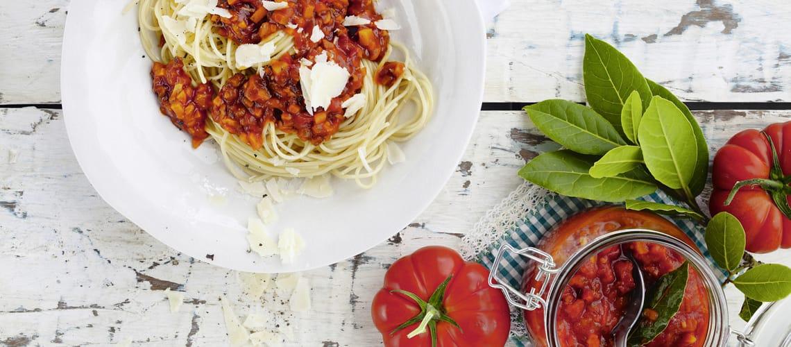 Spaghetti mit Shiitake-Bolognese